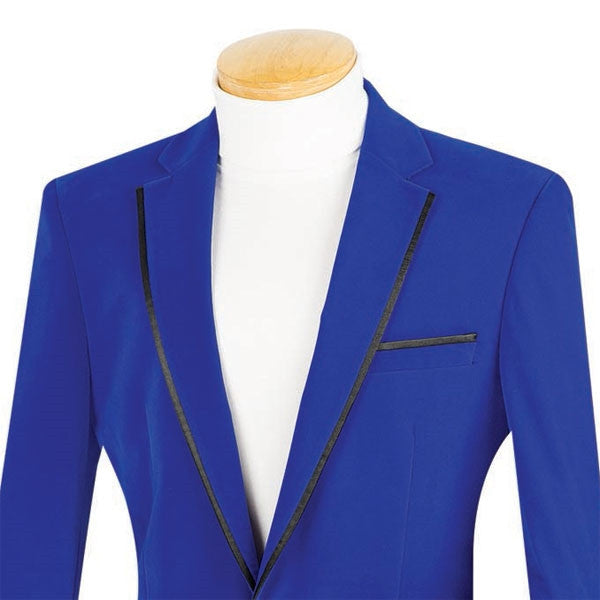 Velvet Regular Fit Men's Blazer in Royal Blue - SUITS FOR MENS