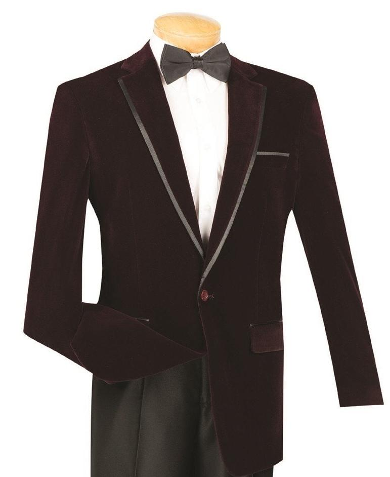 WINE CASUAL DRESS MEN'S JACKET SPORT COAT CLASSIC FIT VELVET