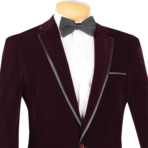 Velvet Regular Fit Men's Blazer in Wine - SUITS FOR MENS
