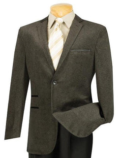 Coffee Casual Suit Slim Fit Trimmed Sports Coat - SUITS FOR MENS