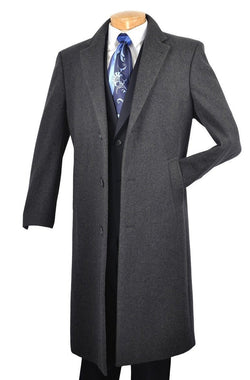 "Milan Collection - Winter Fall Essentials Men's Dress Top Coat 48"" Long in Charcoal - SUITS FOR MENS"