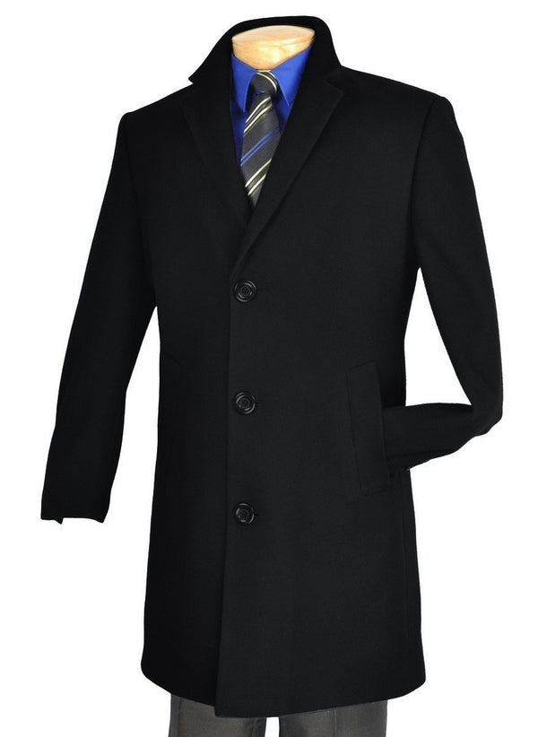 "38"" Long Fall/Winter Essential Regular Fit Men's Top Coat In Black - SUITS FOR MENS"