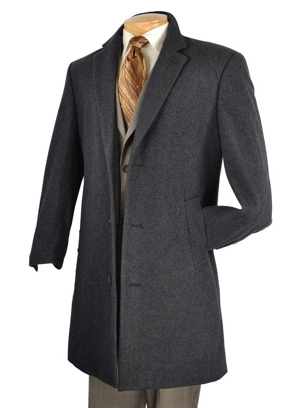 "38"" Long Fall/Winter Essential Regular Fit Men's Top Coat In Charcoal - SUITS FOR MENS"