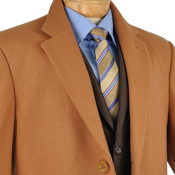 Fall/Winter Essential Regular Fit Men's Top Coat In Vicuna - SUITS FOR MENS