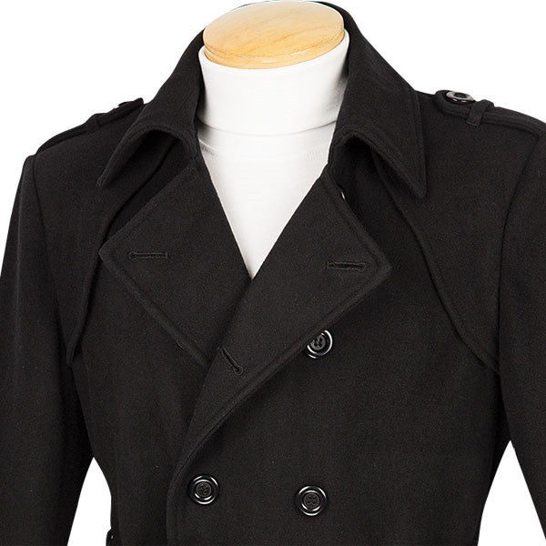 Men's Fall/Winter Slim Fit Double Breasted Top Coat in Black - SUITS FOR MENS