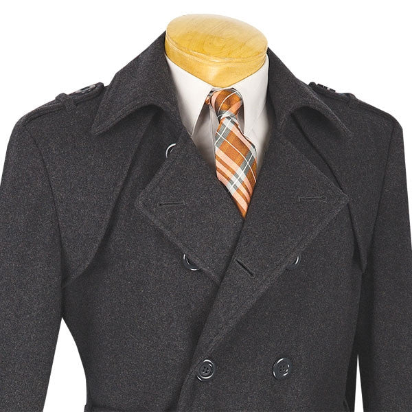 Men's Fall/Winter Slim Fit Charcoal Double Breasted Top Coat - SUITS FOR MENS