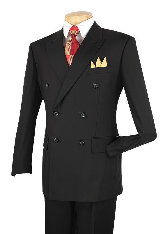 NEW ! MEN'S DRESS SUITS DOUBLE BREASTED SUITS MEN'S CLASSIC FIT BUSINESS SUITS SOLID BLACK COLOR