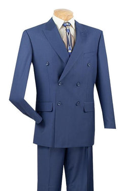 Ramses Collection - Double Breasted 2 Piece Suit Regular Fit in Blue - SUITS FOR MENS