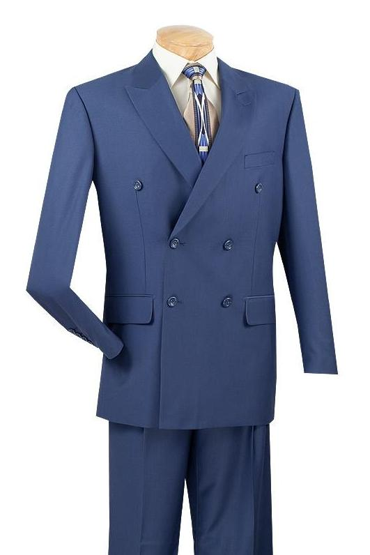 NEW! BUSINESS SUITS DOUBLE BREASTED SUITS MEN'S CLASSIC FIT SUITS SOLID BLUE COLOR