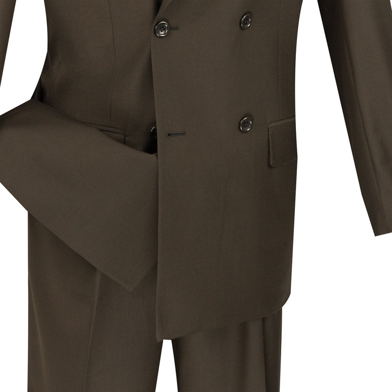 MEN'S DRESS BUSINESS SUITS DOUBLE BREASTED SUITS MEN'S CLASSIC SUITS SOLID BROWN COLOR