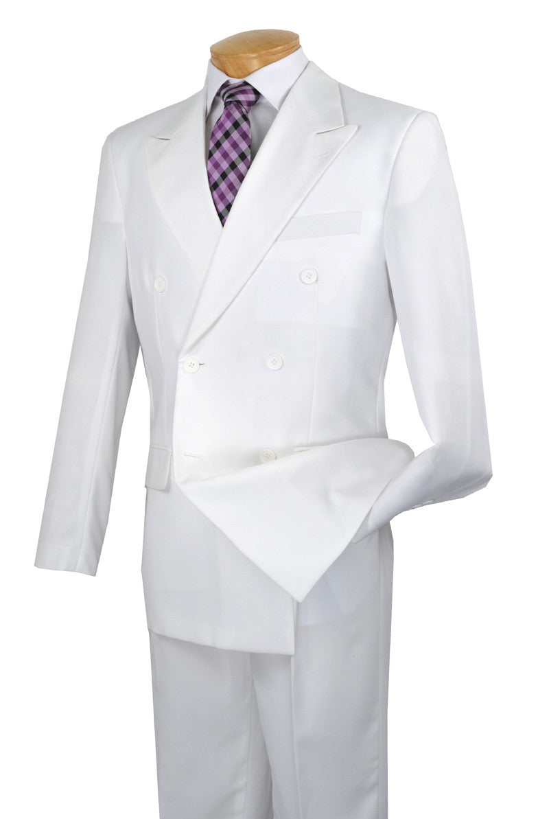 Atlantis Collection - White Regular Fit Double Breasted 2 Piece Suit - SUITS FOR MENS