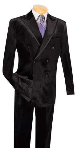 Velvet Regular Fit 2 Piece Suit Double Breasted in Black - SUITS FOR MENS