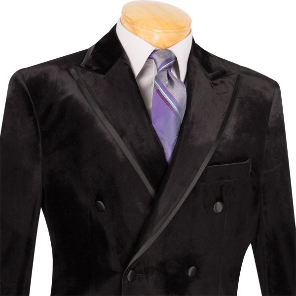 Men's Velvet Regular Fit 2 Piece Suit Double Breasted Black - SUITS FOR MENS