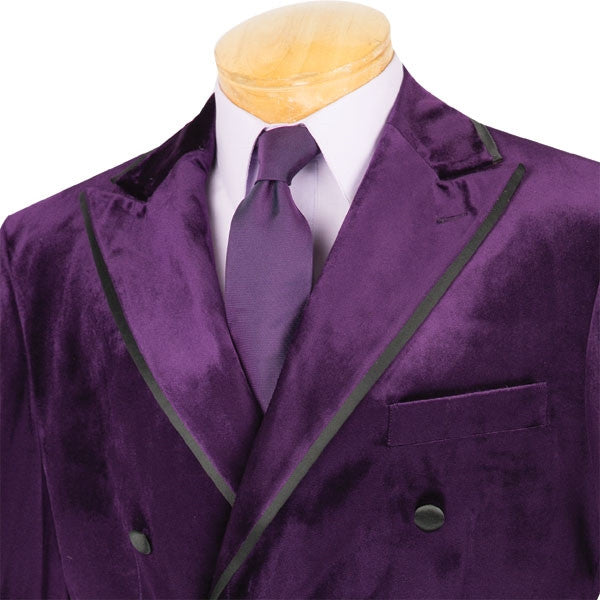 Men's Velvet Regular Fit 2 Piece Double Breasted Suit Solid Purple - SUITS FOR MENS