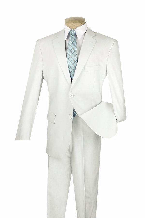 LINEN MEN'S CLASSIC SUITS 2 PIECE 2 BUTTONS DESIGN SOLID COLOR LIGHT GRAY