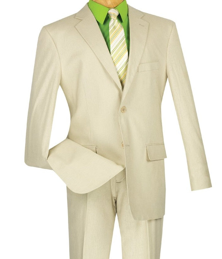 LINEN MEN'S CLASSIC SUITS 2 PIECE 2 BUTTONS DESIGN SOLID COLOR NATURAL