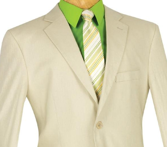 Linen Men's Regular Fit Suits 2 Piece 2 Button in Natural Tan - SUITS FOR MENS