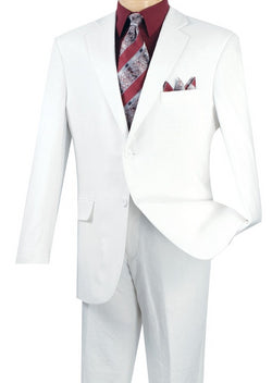 Linen Men's Regular Fit Suits 2 Piece 2 Button in White - SUITS FOR MENS