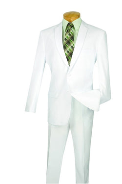 White Slim Fit Men's 2 Piece Business Suit 2 Button - SUITS FOR MENS