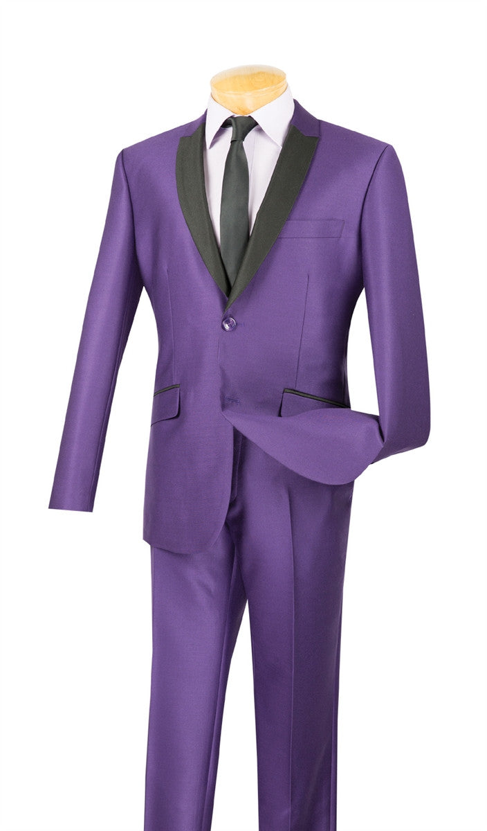 PURPLE SLIM FIT MEN'S FASHION SILM SUITS SHAWL LAPEL SHARK SKIN