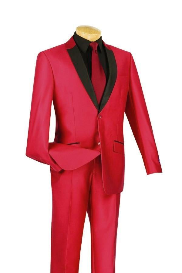 RED SLIM FIT SUIT MEN'S FASHION SILM SUITS SHARK SKIN