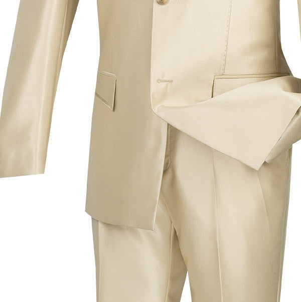 Slim Fit Men's Suit 2 Piece 2 Buttons Shiny Sharkskin in Champagne Beige - SUITS FOR MENS