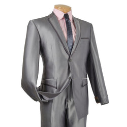Gray Slim Fit Men's Shiny Sharkskin Suit 2 Piece 2 Buttons Shark Skin - SUITS FOR MENS