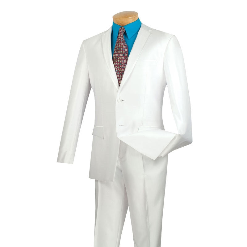 Slim Fit Men's Suit 2 Piece 2 Buttons Shiny Sharkskin in White - SUITS FOR MENS