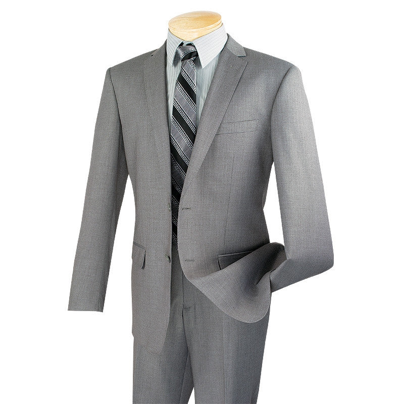 SOLID GRAY SLIM FIT MEN'S SUITS 2 PIECE 2 BUTTONS NEW