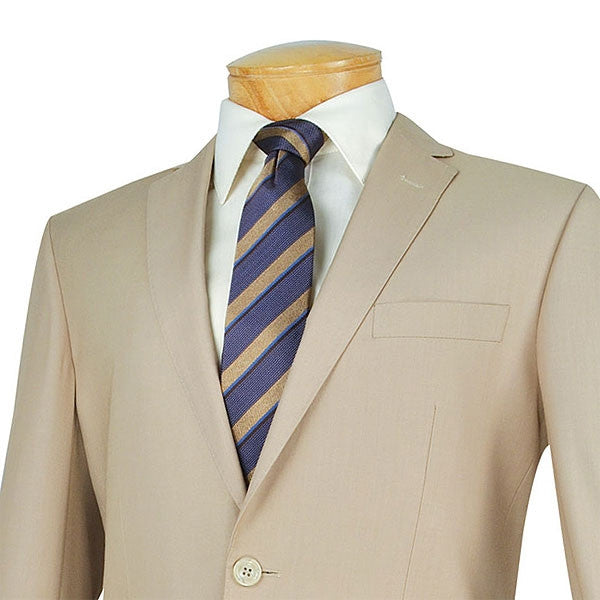 SOLID LIGHT BEIGE SLIM FIT MEN'S SUITS 2 PIECE 2 BUTTONS NEW