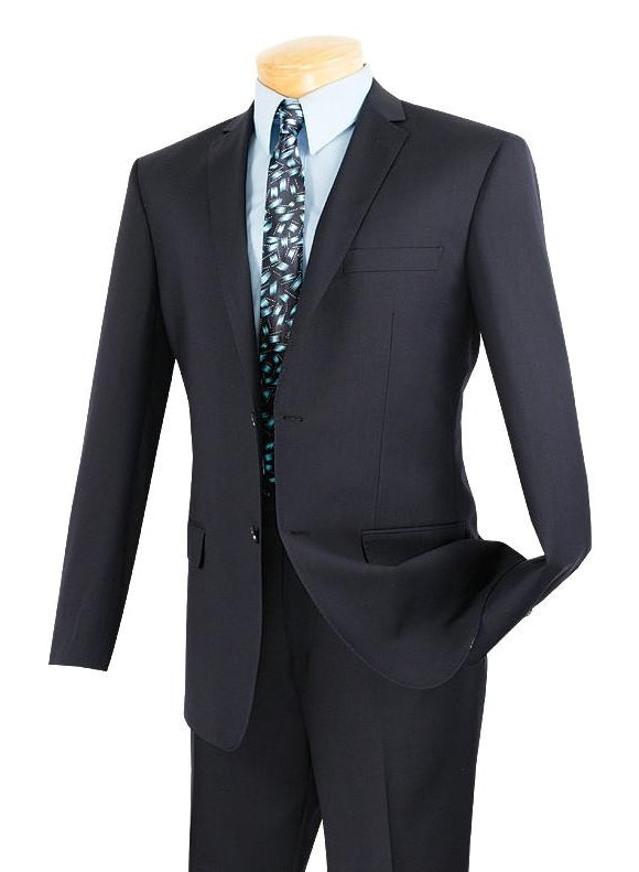 SOLID NAVY VINCI SLIM FIT MEN'S SUITS 2 PIECE 2 BUTTONS