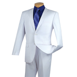 Slim Fit Men's Suit 2 Piece 2 Button in White - SUITS FOR MENS