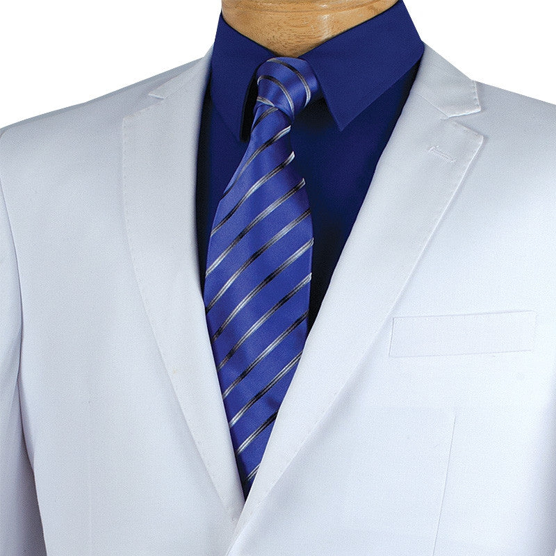 SOLID WHITE SLIM FIT MEN'S SUITS 2 PIECE 2 BUTTONS NEW