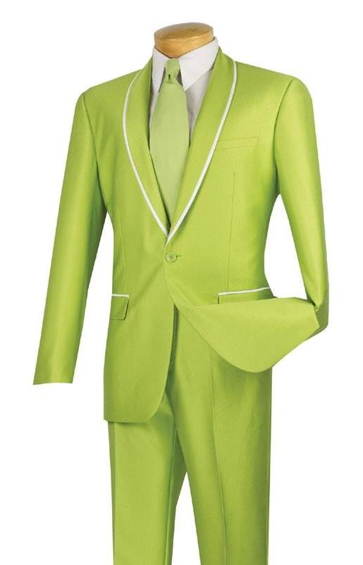Palazzo Collection - Apple Green Men's Slim Fit 2 Piece Tuxedo Shawl Lapel - SUITS FOR MENS
