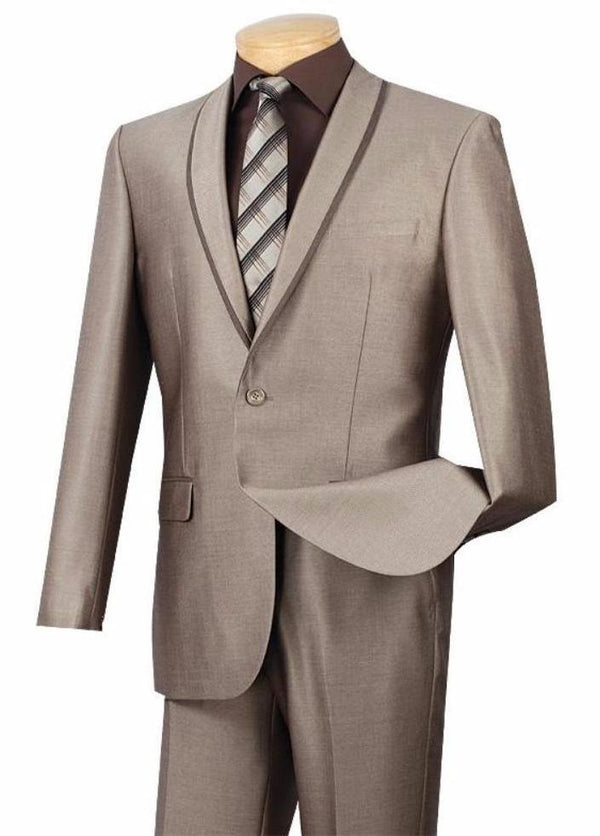 BEIGE MEN'S FASHION WEDDING TUXEDOS SILM FIT SUITS SHAWL LAPEL