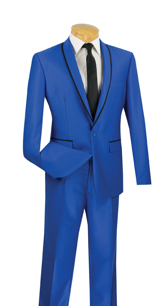 ROYAL BLUE MEN'S FASHION TUXEDOS SILM FIT SUITS SHAWL LAPEL NEW