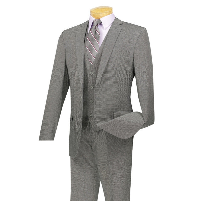SOLID GRAY SLIM FIT MEN'S SUITS 3 PIECE 1 BUTTON DESIGN