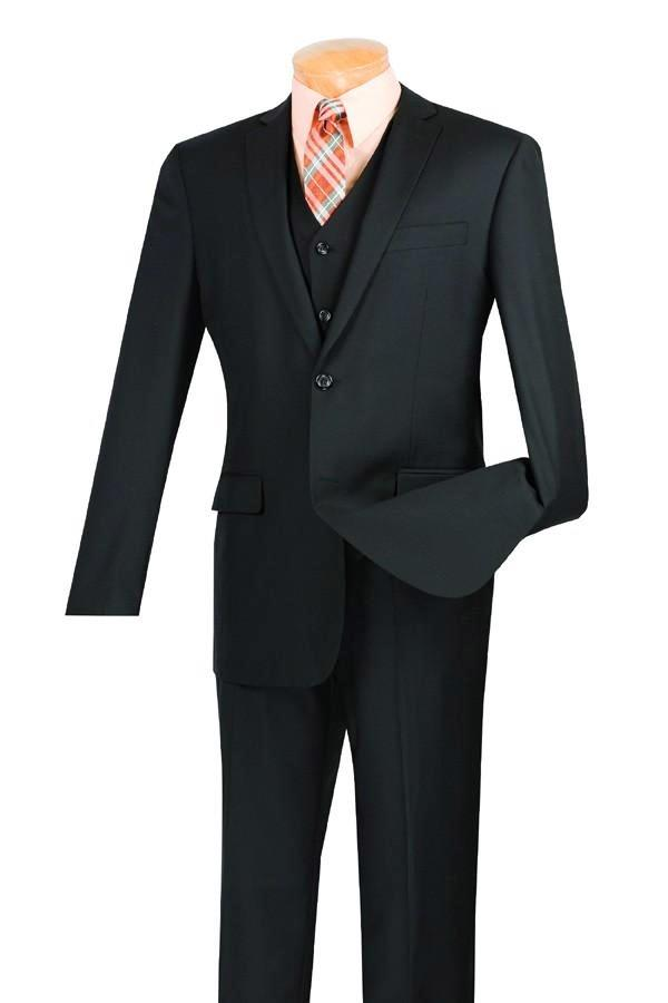 SOLID BLACK SLIM FIT MEN'S SUITS 3 PIECE 2 BUTTONS NEW