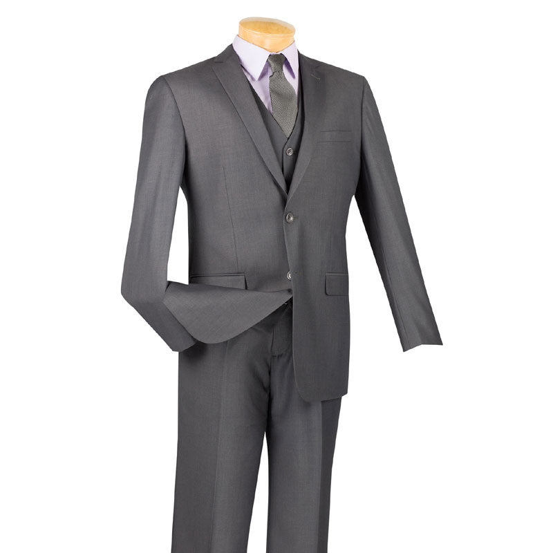 SOLID HEATHER GRAY SLIM FIT MEN'S SUITS 3 PIECE 2 BUTTONS NEW
