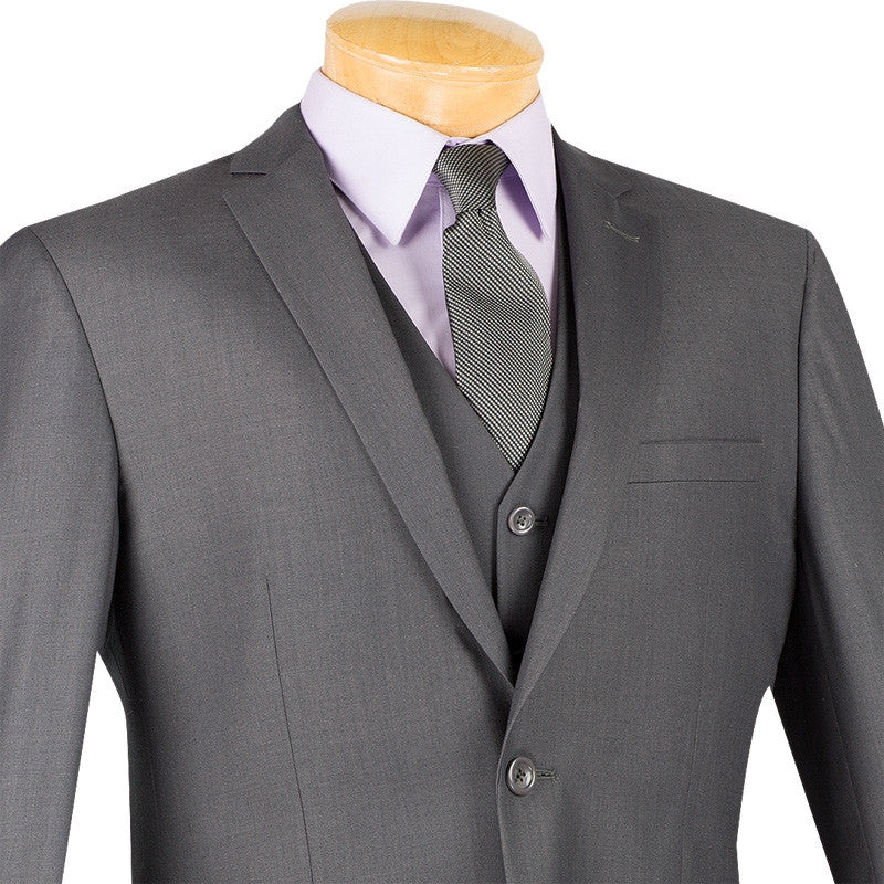 Slim Fit Men's Suit 3 Piece 2 Button in Heather Gray - SUITS FOR MENS