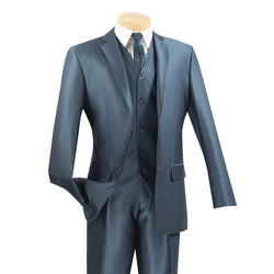 Blue Slim Fit Men's Suit 3 Piece 2 Button Textured Solid - SUITS FOR MENS