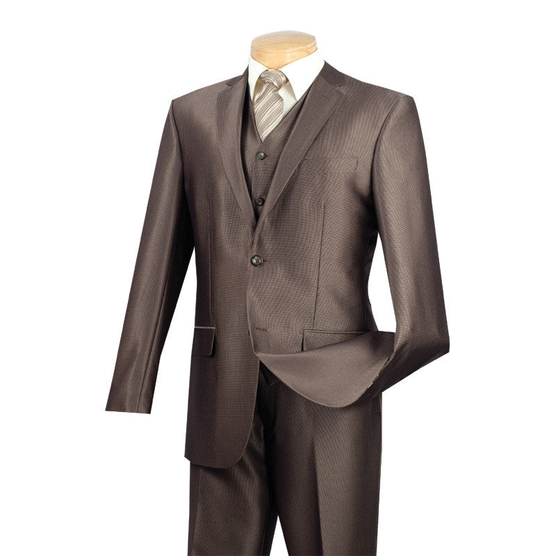 MOCHA VINCI SLIM FIT MEN'S SUITS WITH VEST 3 PIECE 2 BUTTONS TEXTURED SOLID