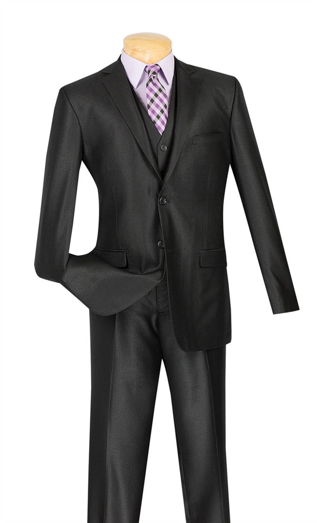BLACK SLIM FIT SUITS WITH VEST 3 PIECE 2 BUTTONS TEXTURED SOLID