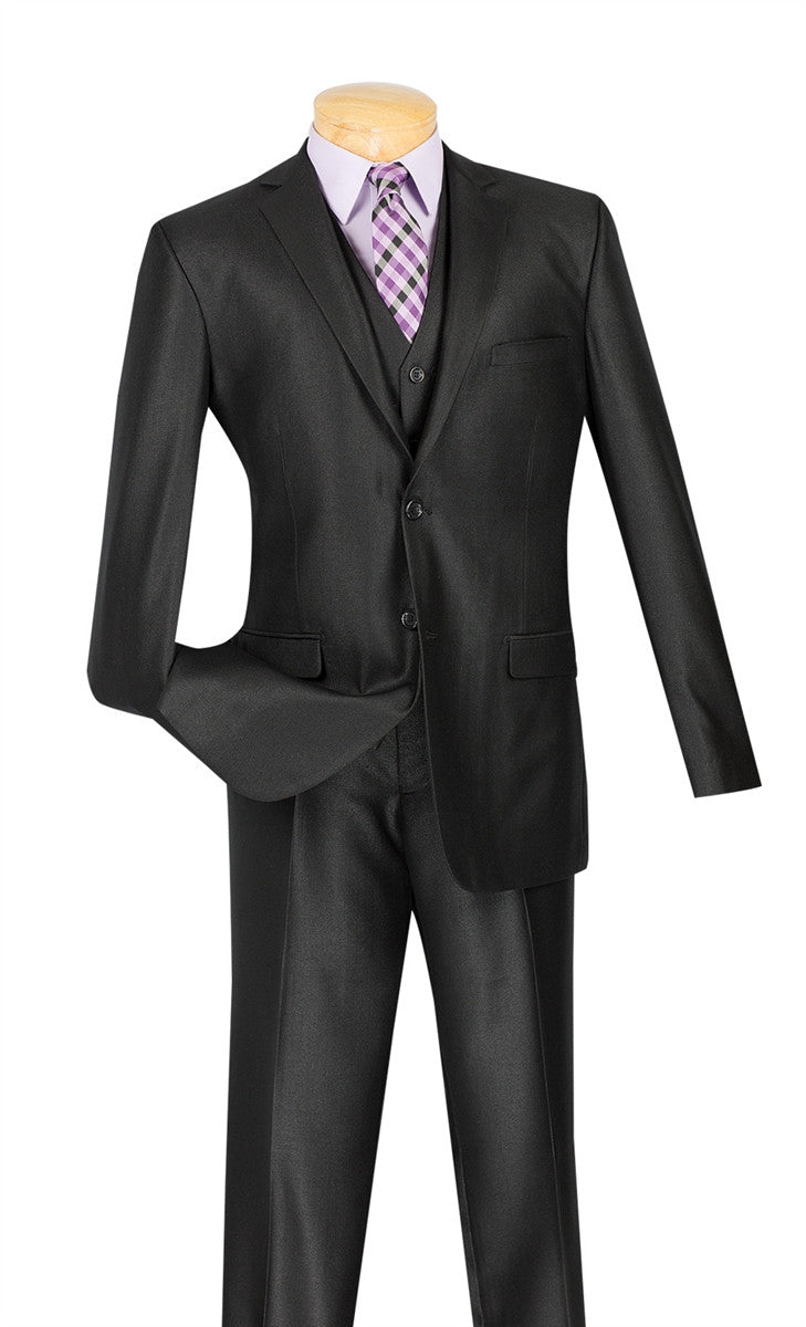 Slim Fit Textured Suit 3 Piece 2 Buttons in Black - SUITS FOR MENS