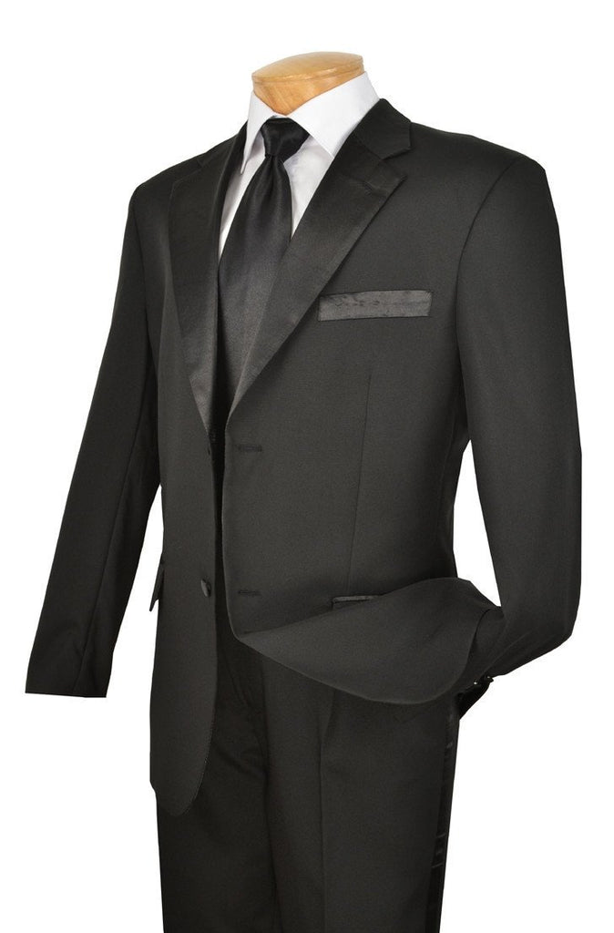 NEW! WEDDING TUXEDO SUITS FOR MEN VINCI MEN'S CLASSIC TUXEDO COLLECTION IN BLACK TWO BUTTON DESIGN