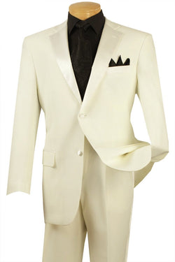 WEDDING SUITS FOR MEN VINCI MEN'S CLASSIC TUXEDO COLLECTION IN IVORY TWO BUTTON DESIGN