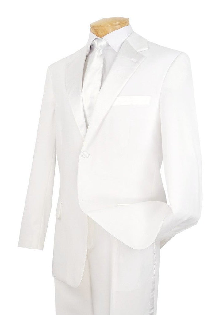 WEDDING SUITS FOR MEN VINCI SUITS MEN'S CLASSIC TUXEDO COLLECTION IN WHITE TWO BUTTON DESIGN