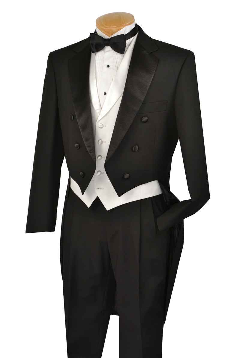 MEN'S TUXEDO CLASSIC FIT COLLECTION WITH TAILS AND VEST IN BLACK
