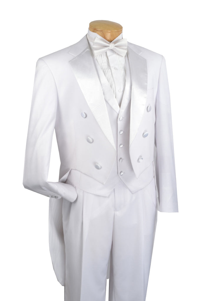 MEN'S TUXEDO CLASSIC FIT COLLECTION WITH TAILS AND VEST IN WHITE
