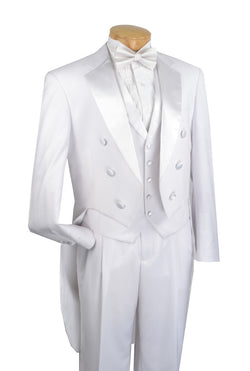 Men's Tuxedo Regular Fit Collection With Tails 3 Piece In White - SUITS FOR MENS
